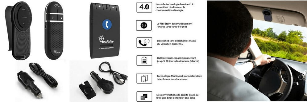 kit main libre voiture bluetooth veopulse